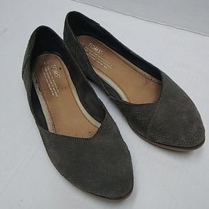 TOMS suede leather slip on flats
